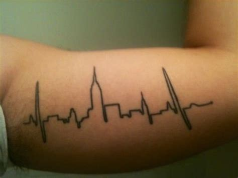 new york skyline tattoo newyorkcity skyline heartbeat tatts