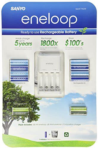 Advanced Charger Sanyo Eneloop For Aa And Aaa Battery Tanpa T2909 sanyo eneloop ni mh charger and 8 rechargeable aa and 4 rechargeable aaa batteries your