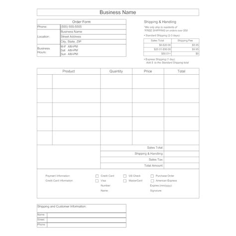 Purchase Order Form Template Form Template