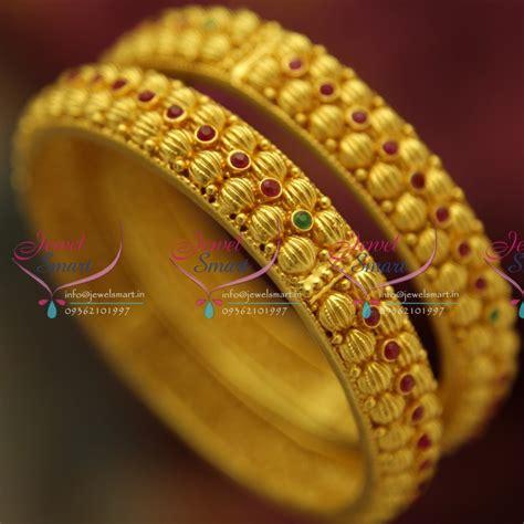 design collection gold metal bead b4312s 2 4 size design line one gram bangles