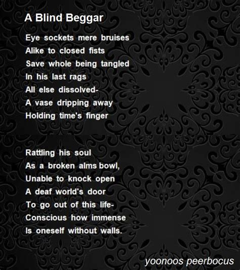 Blind Poem a blind beggar poem by yoonoos peerbocus poem