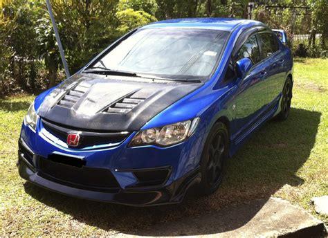 car rides honda civic fd blue js racing  sabah