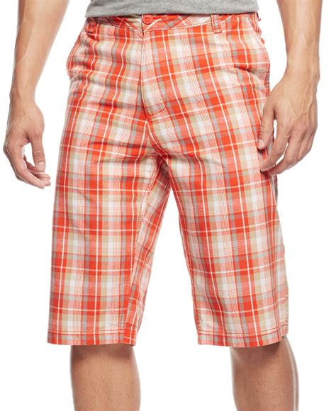 Plaid Shorts lyst flat front plaid shorts in for