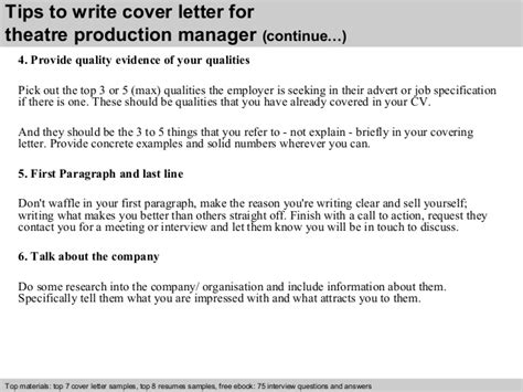 Producing Director Cover Letter by Theatre Production Manager Cover Letter
