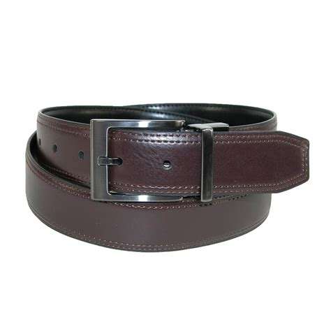 mens leather feather edge reversible belt with gunmetal