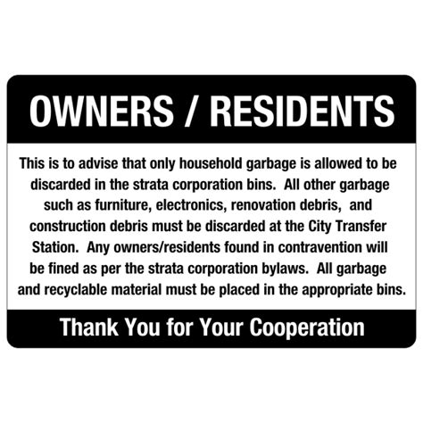 Large Backyard Umbrella Strata Garbage Rules Amp Regulations Sign 24 X 36 Bc