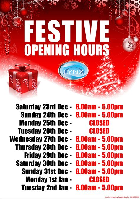 Personalised Christmas Opening Hours Poster Lynxdcs Opening Hours Template