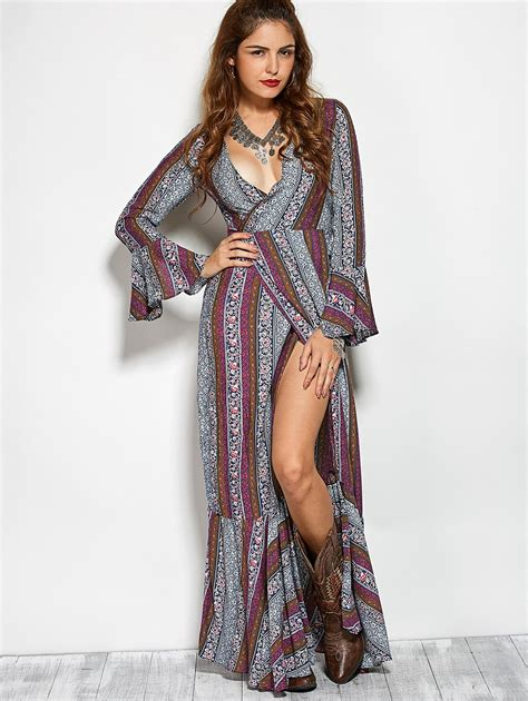 Bohemia Dress crossover high slit maxi bohemian dress in colormix