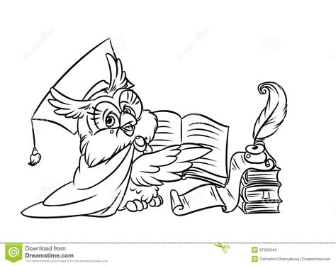 owl reading coloring page image gallery scientist owl
