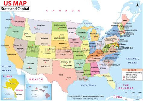map of the united states and their capitals us map shows the 50 states boundary their capital cities