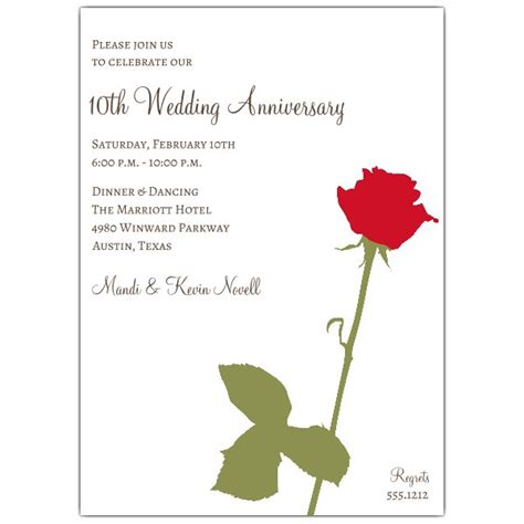 Wedding Anniversary Invitations Red Rose Paperstyle
