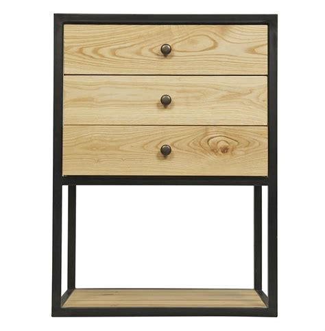 Metal Nightstands With Drawers Reilly Industrial Loft 3 Drawer Elm Metal Nightstand Kathy Kuo Home