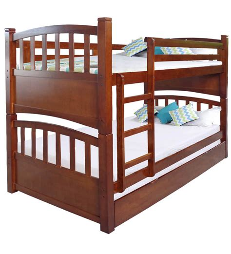 Buy Mclamar Bunk Bed With Pull Out In Walnut Finish By Pull Out Bunk Bed