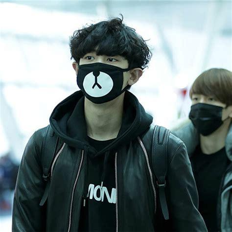 Masker Kpop Masker Rilakuma Chanyeol vente chaude nouveau design kpop exo masque mode trendy ours noir bouche masque anti poussi 232 re