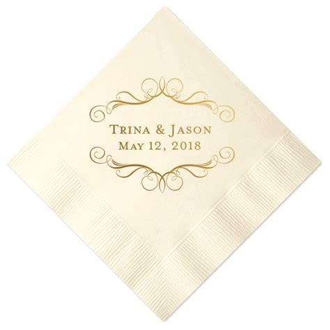 Wedding Napkins by Scrollwork Frame Custom Wedding Cocktail Napkins Paperstyle