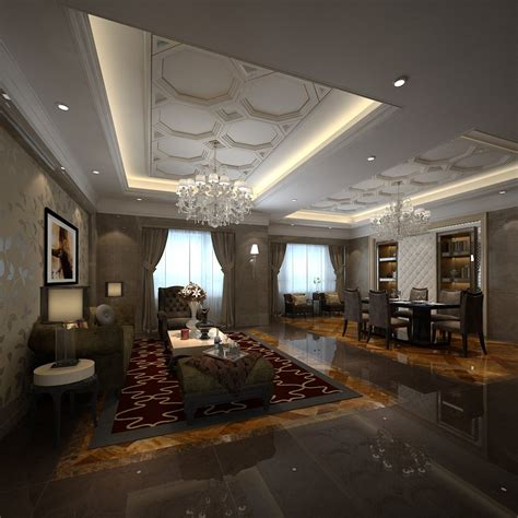 fancy room fancy living room combined with dining room 3d model max