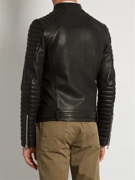 Fashion 832 Leather lyst balmain collarless grained leather biker jacket in black for
