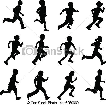 children running silhouettes set  running children