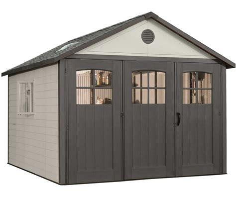 lifetime  plastic storage shed kit   wide doors