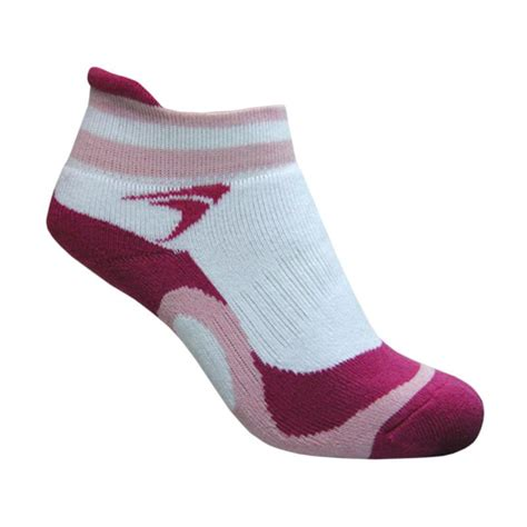 Kaos Kaki Bulutangkis jual flypower thunder kaos kaki badminton wanita white pink harga kualitas terjamin