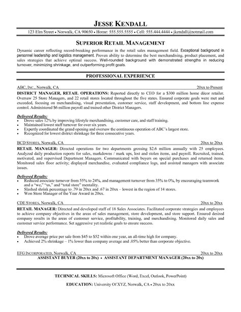 Retail Exle Resume by Retail Management Resume Template Sle Resume Cover Letter Format