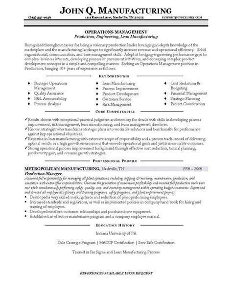 Production Manager Sle Resume manufacturing manager resume sles 28 images resume