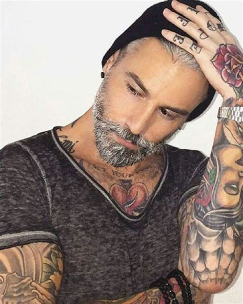 grey hair and beard and tattoos men pinterest beards 247 best men mature images on pinterest beard styles