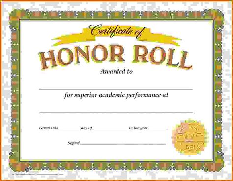 honor roll certificate templatereference letters words