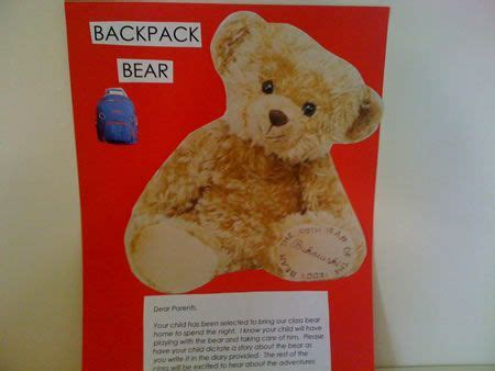 Diary Teddy backpack skills motivation to read and write