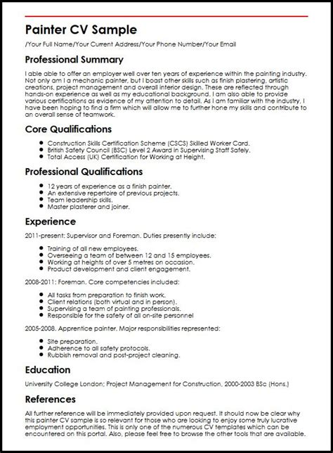 Core Qualifications Examples For Resume by Painter Cv Sample Myperfectcv