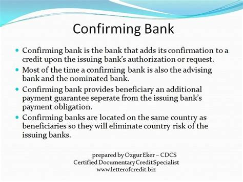 Confirmation Credit Letter To Letter Of Credit Presentation 1 Lc