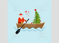 Santa Claus and Christmas tree on boat ride Vector Image ... Free Clipart Of Christmas Tree