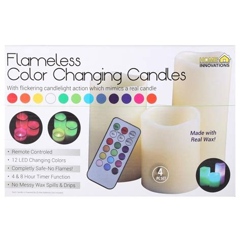 Color Changing Led Candle With Remote Set Of 3 Pcs luma flameless led candles color changing real wax w