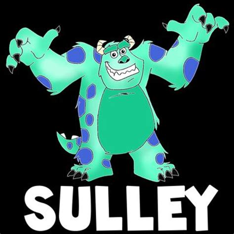 tutorial menggambar monster inc how to draw sulley from monsters inc with easy step by