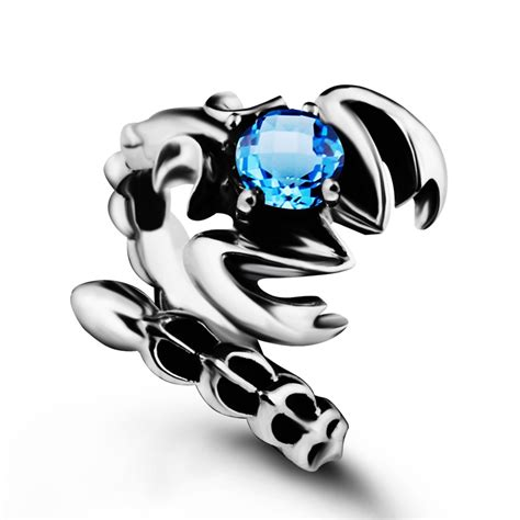 s sterling silver vintage gemstone scorpion ring topaz