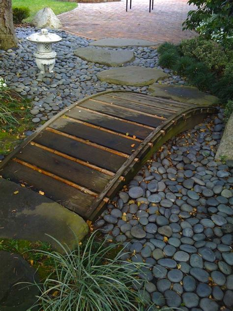 backyard bridges design dry creek beds small decorative bridges enhance the