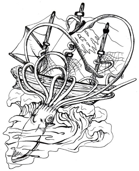 boat and octopus drawing 86 best images about giant squid octopus ship on