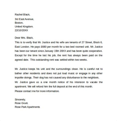 Previous Landlord Reference Letter Uk Landlord Reference Letter Template 10 Sles Exles Formats