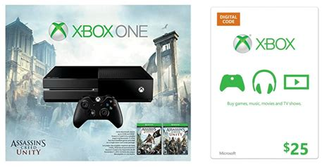 Xbox One Gift Cards - xbox one assassin s creed unity bundle 25 xbox gift card just 349 99