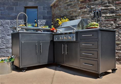 kitchen inspiring prefab outdoor kitchen grill design with l shaped using dark gray tile top inspirational prefab outdoor kitchen grill islands gl