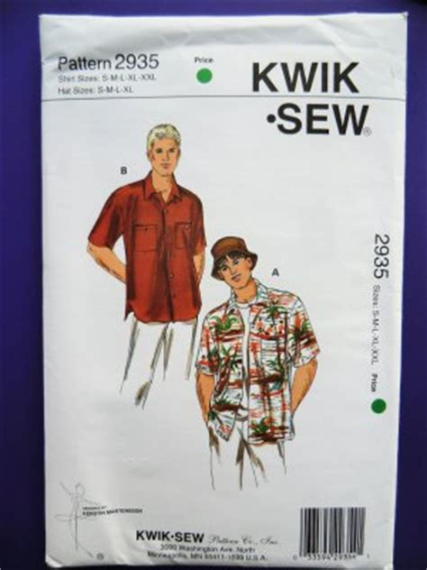 hawaiian shirt pattern sewing sold kwik sew pattern 2935 uncut mens hat hawaiian