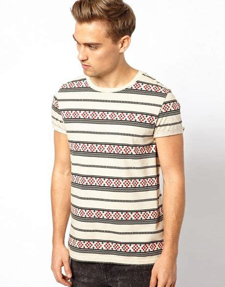 aztec pattern t shirt asos stripe tshirt with aztec pattern in white for men