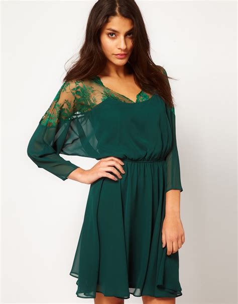 Top Dan Skirt Green Clpp8605 lyst asos collection skater dress with lace top scallop neck in green