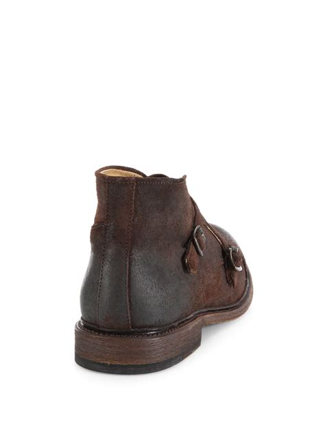 frye waxed suede monk chukka boots in
