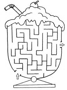 cup maze to print and color coloring - Maze Coloring Pages