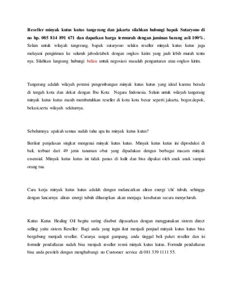 Minyak Kutus Kutus Tangerang reseller kutus kutus tangerang