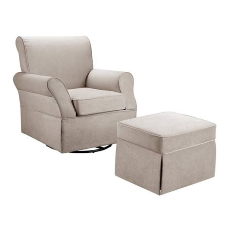 swivel glider and ottoman dorel living swivel glider and ottoman in beige