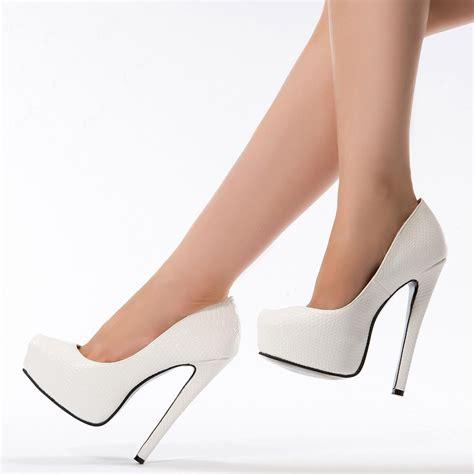 heels high heels white genuine leather platform heels shoespie