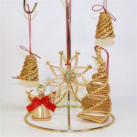 5 vintage swedish straw ornaments angel tree bells star