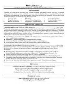 Underwriter Resume Sle by Mortgage Resume Underwriter